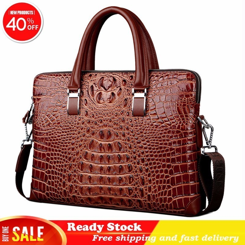 Newfashion Real Cow Leather Men's Briefcase Luxury Crocodile Pattern Cowhide Male Shoulder Bag Commercial Business Free Shipping