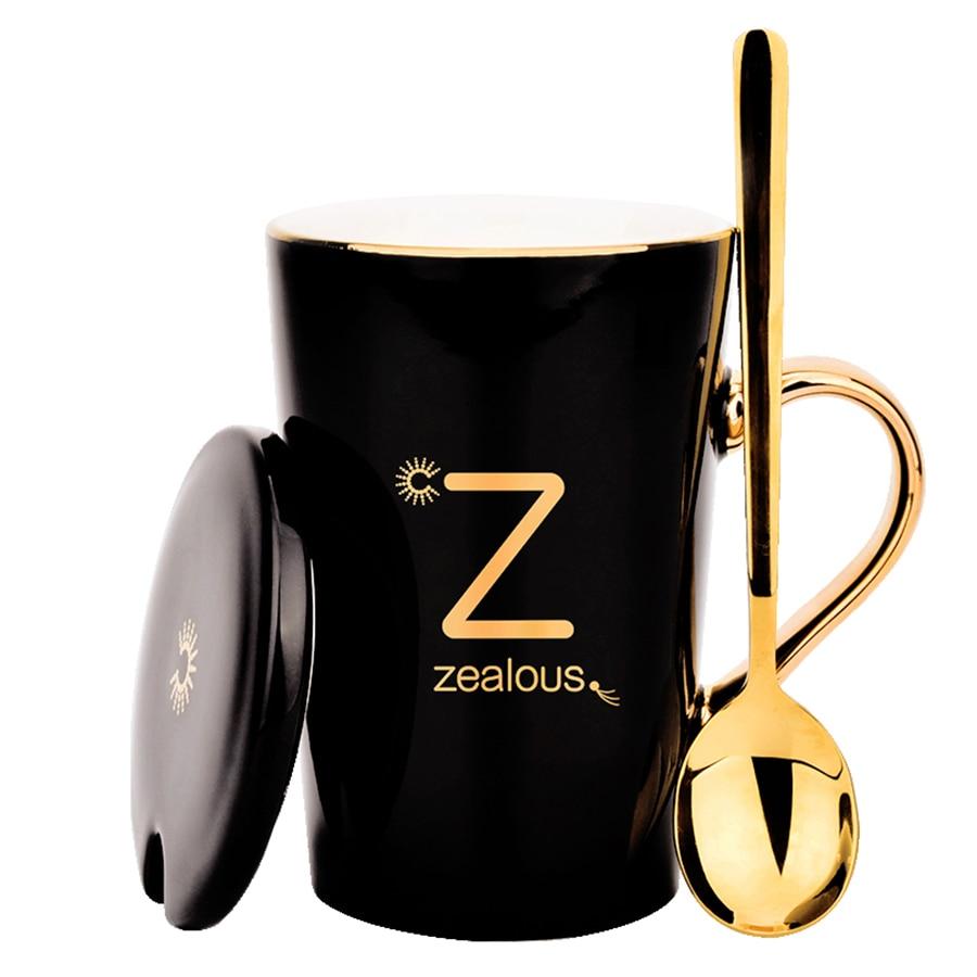 Large Ceramic Coffee Mugs Creative Vintage With Spoon Black Big Cute Coffe Mug With Lid Custom Tazas Funny Cups And Mugs 30M019