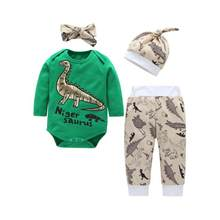 Single Breasted Infants Baby Kids Unisex Toddler Long Sleeve Cartoon Dinosaur Pattern T-shirt Suit Hat Hairband newborn baby(China)