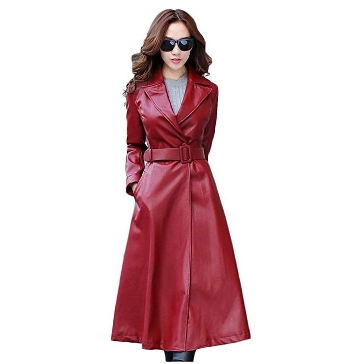 2e0d863b53e8 Long Vintage Biker Manteau Pu Manteaux Élégante rouge 2 De Femme Cuir red  Veste Survêtement En Noir Femmes 2 Ceintures Moteurs black Mince Femelle ...