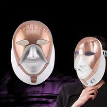 7 цветов Электрический светодиодный маска для лица с шеи омоложение кожи отбеливание порока анти акне, морщины Красота лечение дома Применение