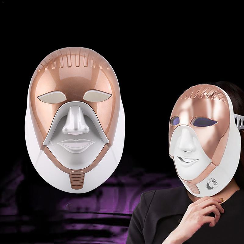 7 colori LED Elettrico Maschera Per il Viso Con La Pelle del Collo Ringiovanimento Sbiancamento Macchia di Anti Acne Rughe Trattamento di Bellezza Uso Domestico