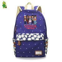 Cartoon Stranger Things Luminous Backpack Flower Wave Point School Bags for Teenagers Girls Daily Laptop Backpack Travel Bags