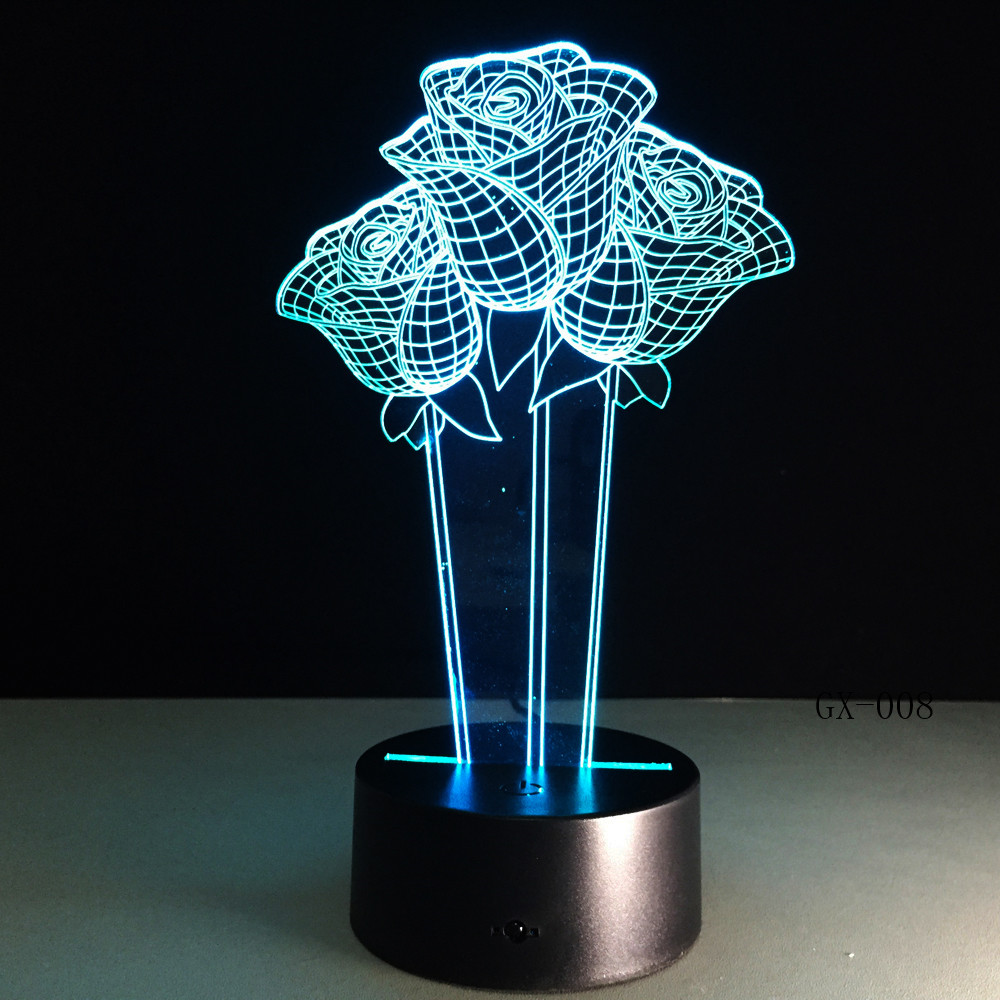 Love Blue Rose 3D LED Night Light Luminaria Lampara 7 Color Change Table Lamp Girlfriend Birthday Christmas New Year Gift GX-008