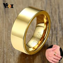 Vnox Basic Tungsten Carbide Rings for Men 8MM High Polished Gold Color Male Anel Alliance Anniversary Gifts(China)