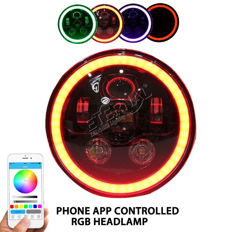 Livraison gratuite 60 W RGB phare LED 7 pouces rond téléphone APP télécommande 12 V phare pour tout-terrain Wrangler Land Rover 4x4 camion