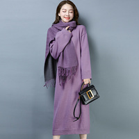 4 Colors Brand Women's Suit Fall Winter Two Piece Set New Solid Color Simple O neck Dress+trendy Tassel Scarf 2 Piece Set Women