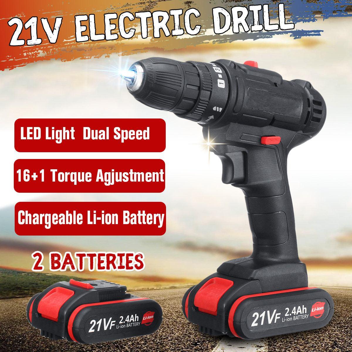 Perceuse électrique sans fil 21 V avec 2 Batteries au Lithium Mini perceuse Rechargeable perceuse à main sans fil à 2 vitesses