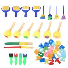 Painting Brush Paint Supplies 46PCS Kid Sponge Painting Stamp Roller Brushes Capital Letters Educational Painting Tool Toy(China)