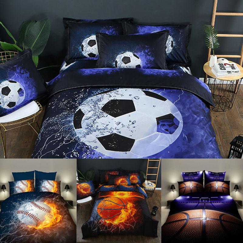 3pcs 3d Football Bedding Set Sports Stadium Print Duvet Cover Set Soccer Fans Gifts Bedroom Decor Soft Bedclothes Pillowcase D25 Home & Garden