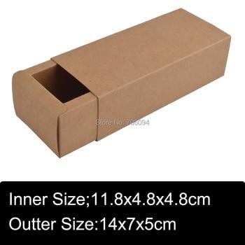 14x7x5CM 50pcs kraft drawer paper box Brown kraft handmade gift boxes custom slide box logo