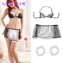 VATINE Sexy Underwear Open Crotch Erotic Lingerie Maid Uniform Exotic Apparel La