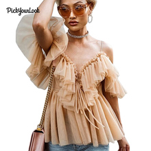 PickyourLook Pleated Ruffle Blouse Off Shoulder Womens Tops and Blouses Vintage Sleeveless Summer Shirt Lace up Blouse Backless недорого