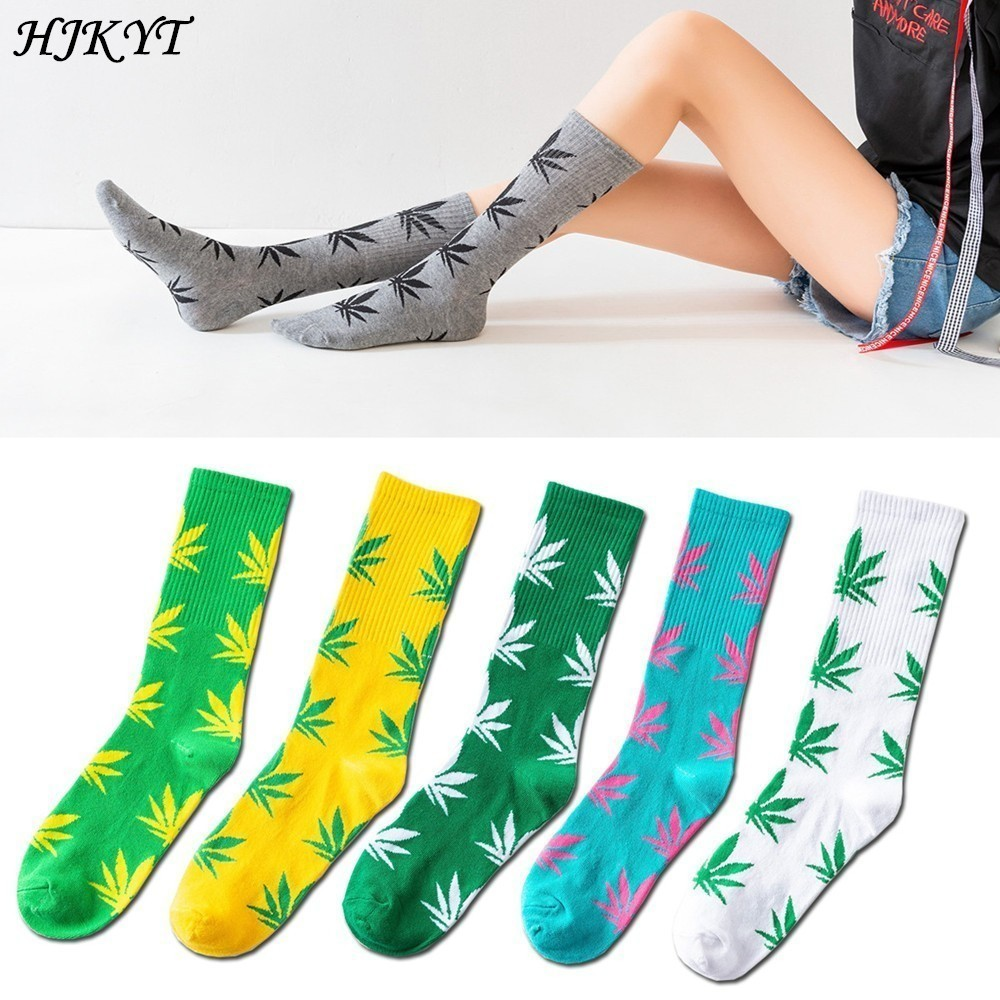 HJKYT summe weed   socks   with hemp art gentlemen men and women happy funny fashion streetwear Cotton long tube colorful hip hop