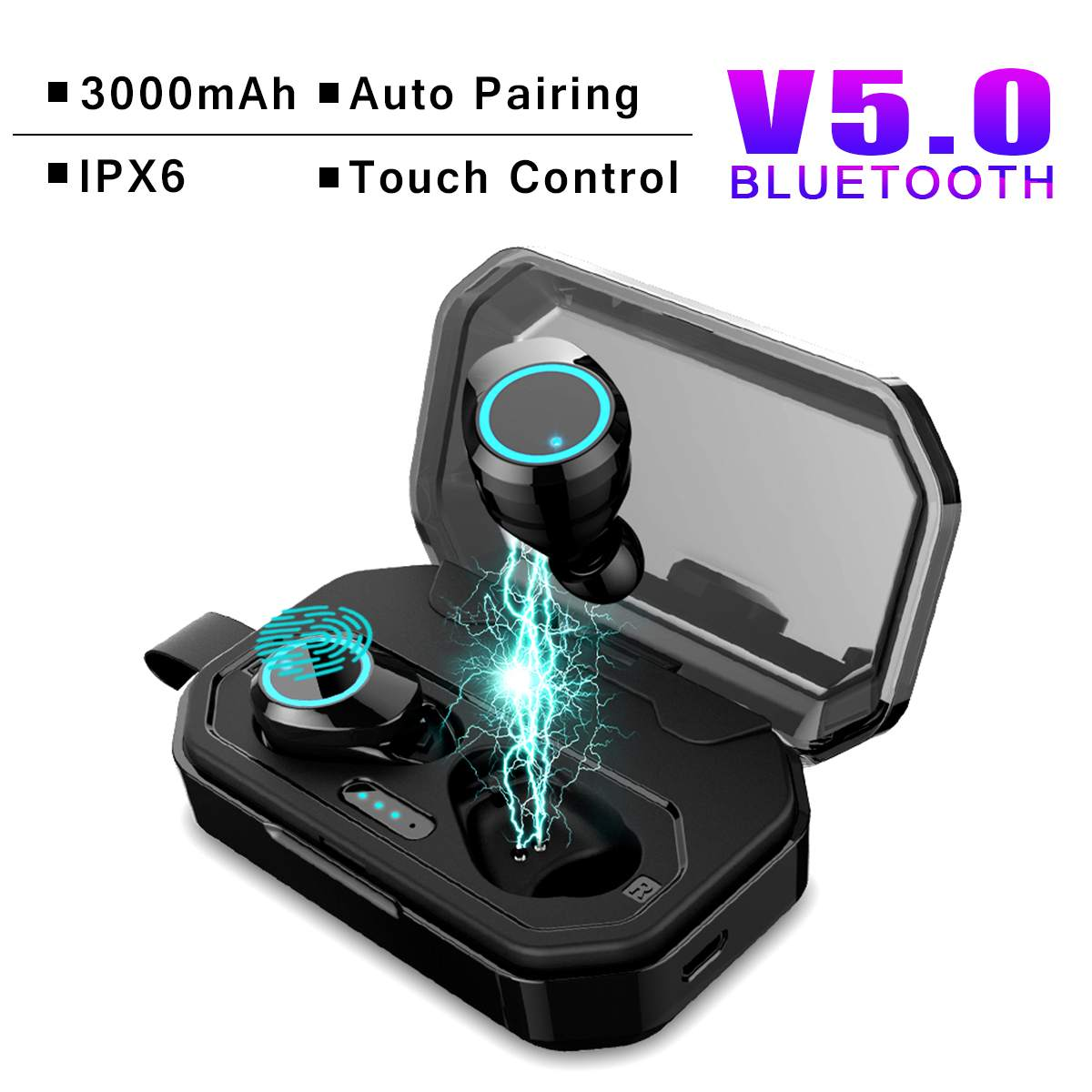 bluetooth V5.0 TWS Wireless Earphone Touchs Control CVC8.0 Noise Cancellings Earbuds 3000mAh Charging Box Power Bank for iphonebluetooth V5.0 TWS Wireless Earphone Touchs Control CVC8.0 Noise Cancellings Earbuds 3000mAh Charging Box Power Bank for iphone