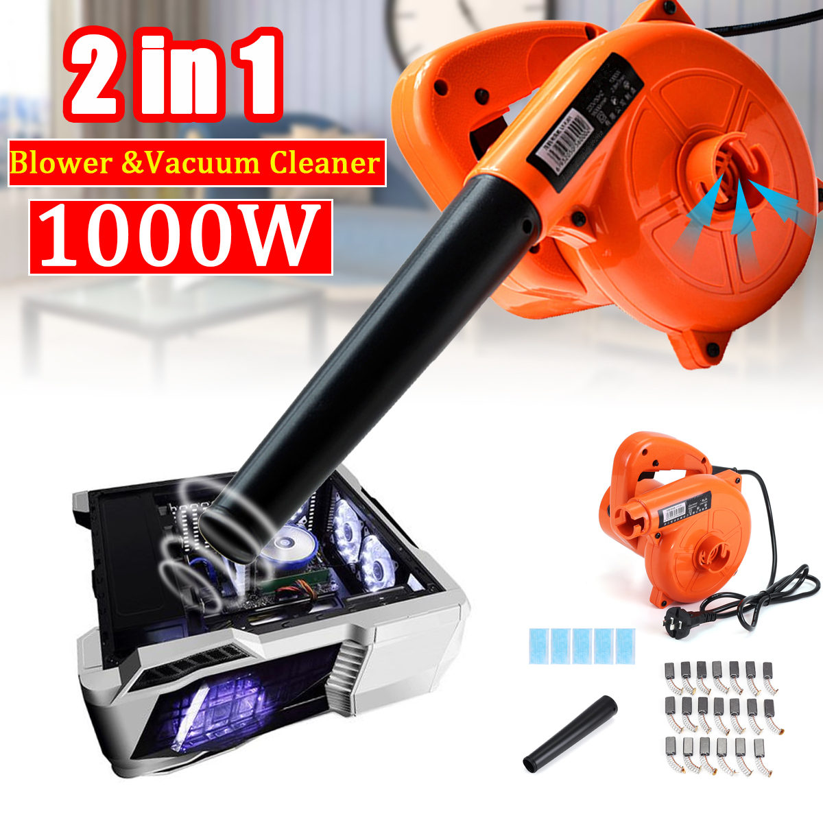 220V 2 IN 1 Handheld Electric Air Blower Vacuum 1000W Vacuum Blowing Dust Vacuum Cleaner Car Computer