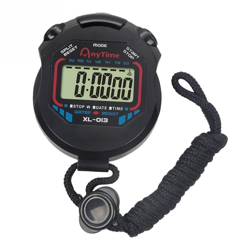 electronic Stopwatch Classic Digital Professional Handheld LCD Chronograph Sports Stopwatch Timer Stop Watch with string*