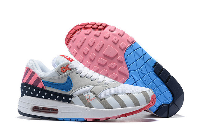 detailed look b65a6 8ea85 NIKE Air Max 1 Premium Mini Swoosh White Multi x Piet Parra Men Running  Shoes,Male AT3057-100 Light Track Sport Sneakers US 7-12