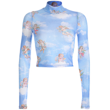 Sexy Sexy Transparent Bodycon Long Sleeve T Shirt Women Turtleneck Angel Print Cropped Tshirt 2019 Summer Streetwear Crop Top