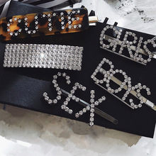 Women Luxury Crystal Rhinestones Hair Clips Leopard Acrylic Hairpin Accessories for Letters Hairgrip Headwear