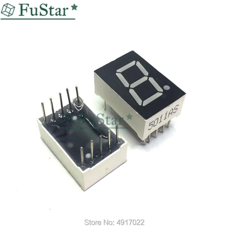 10pcs 0.5inch 7 Segment 1 Bit Digital Tube Red Common Cathode LED Digit Display 0.5inch 0.5 0.5 Inch 0.5'' 0.5in. One 1 Bit