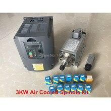 Шпиндель с воздушным охлаждением 3 кВт 220 В/380 В мотор CNC Маршрутизатор Инструменты VFD инвертор 13 шт. ER20 цанговый патрон для фрезерного станка