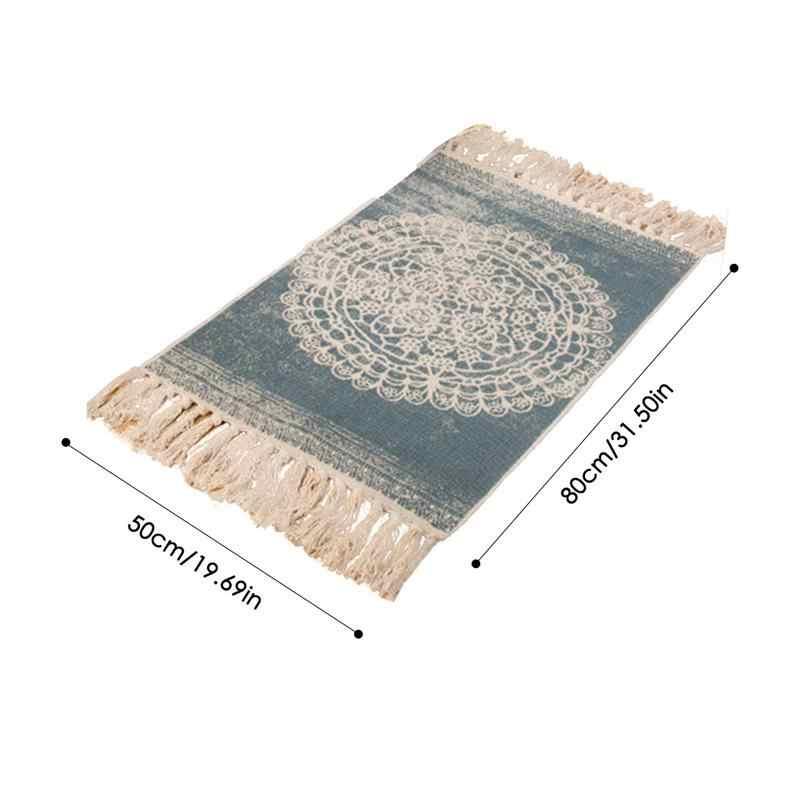 2019 Novo Boêmio Algodão Cânhamo Tapete Tapete Sala de estar Quarto Tapete De Cabeceira Retro Celebridade Borla Cobertor yoga tapete de cabeceira