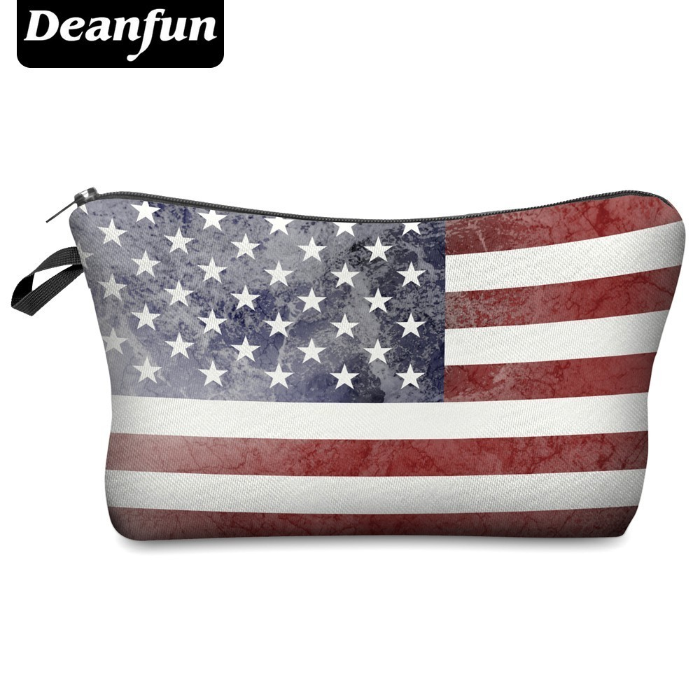 Deanfun Waterproof Cosmetic Bags US Flag Makeup Bag Printing Women Travel Organizer Money Pouch Gift  Hzb-2
