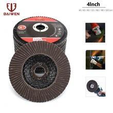 10Pcs 4 Aluminium Oxide Flap Discs Sanding For Deburring Metal Wood Polishing #27 Flat Type 60-320 Grit