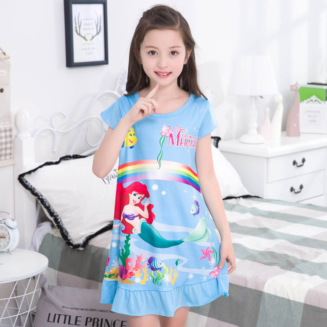 259704f54b girl nightdress Baby Pajamas Cotton Princess Nightgown Kids Home dress  Summer Dresses big Girl Sleepwear Kids