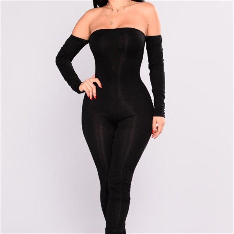 Women Jumpsuit Sexy Ladies Jumpsuits Party Rompers Black Off Shoulder Jumpsuit Women Long Sleeve Romper Skinny Rompers Trousers 3