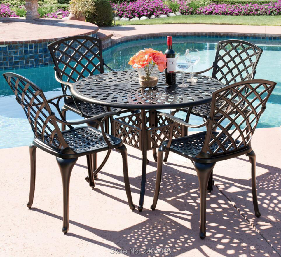 5 piece cast aluminum patio furniture arm chair and table set for poolside balcony with lattice