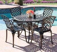 5 шт. литые алюминиевая мебель для веранды стул и стол, уличная мебель модный дизайн для сада