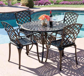 5-piece cast aluminum patio furniture arm chair and table set for poolside ,balcony with lattice weave design - DISCOUNT ITEM  0 OFF All Category