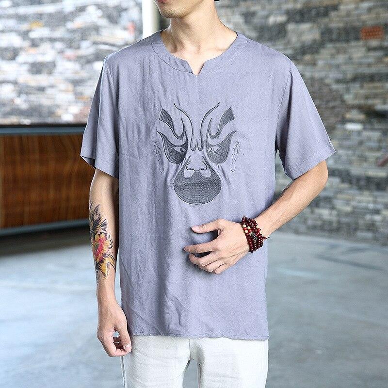 #4515 Dell'annata Di Stile Cinese Di Estate Manica Corta In Cotone T Camicia Di Lino Uomini Viso Stampa Streetwear Vintage Hip Hop Più Formato 5xl