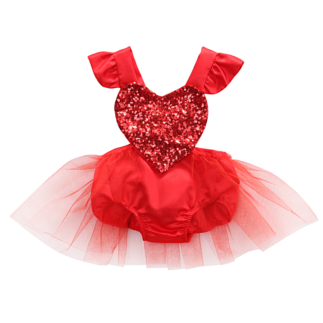 Valentine's Day Newborn Baby Girl Clothes Sequins Love Heart Fly Sleeve   Romper   Tutu Skirt Jumpsuit Sunsuit Birthday Costumes