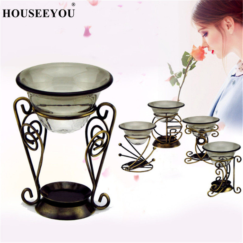European Retro Iron Aroma Burner Candlestick Candle Holder Romantic Essential Oil Burner Lamps Wedding Decoration Aromatherapy image