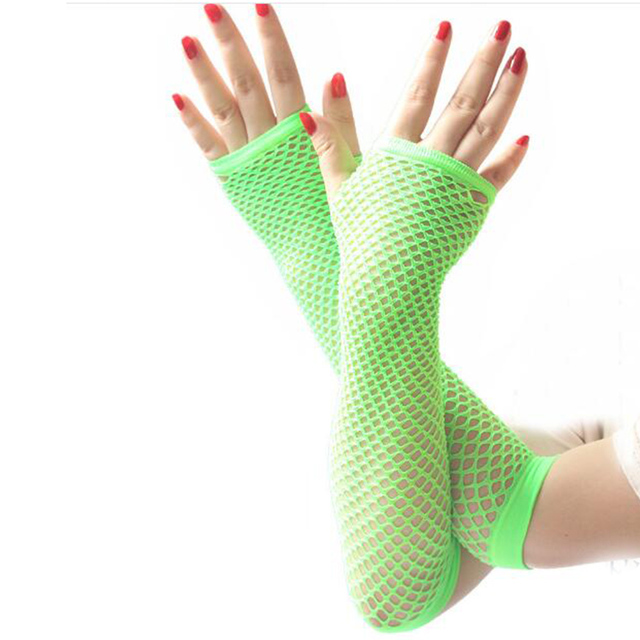 hot sale  summer Lady lace Mesh Fishnet Gloves Women Sexy Disco Dance Fingerless Gloves Women's Long Mittens Black Spring 3