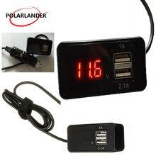 1A 2.1A выход телефон зарядное устройство В 12 В 2 в 1 Dual USB Автомобильное зарядное устройство вольтметр аккумулятора датчик цифровой светодио дный светодиодный автомобильный вольтметр