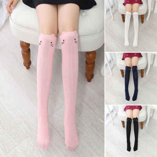 New Girls Cartoon Toddler Warm Long Socks Kids Child Knee High Stockings Cotton