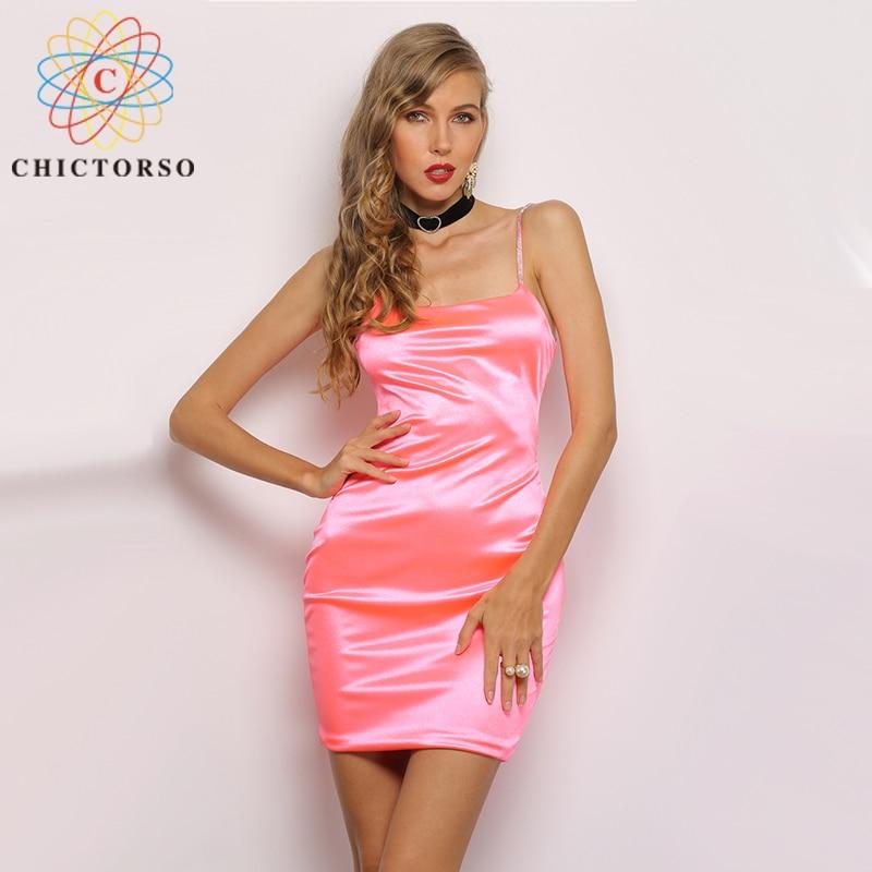 Hictorso Women Yellow Dress Pink Satin Bocycon Backless Elegant Dresses Woman Party Night Sexy Dress Summer Women Dresses 2019