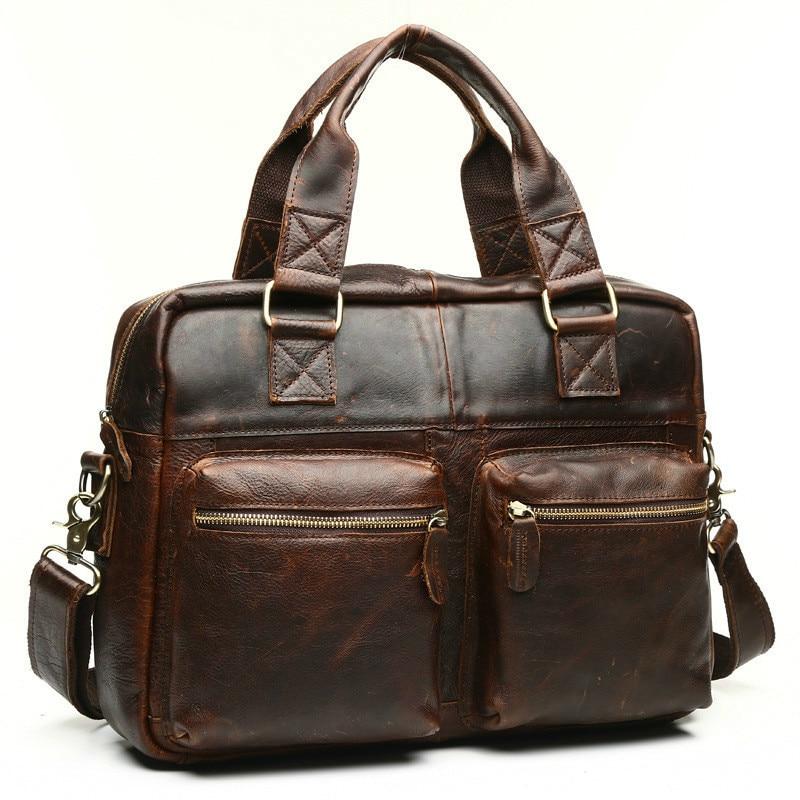 Brown Männlichen Handtaschen High Business Laptop Herren Horse Mode Echtem Totes Hombre Bolso kapazität Tasche Aktentasche Leder chocolate Crazy Aus W0TWqORz7