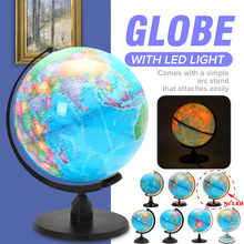 LED Desk Rotating World Globe Lamp with ARC Stand EU Standard 220V Kids School Home Office Geography Earth Map LED light Lamp(China)