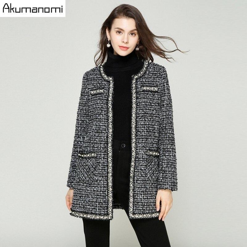 Hiver Plaid Manteau Femmes de Laine Mélange Vestes Manteau O-cou Pleine Manches Poche Survêtement Vêtements Plus La Taille 5xl 4xl 3xl 2xl Xl L M