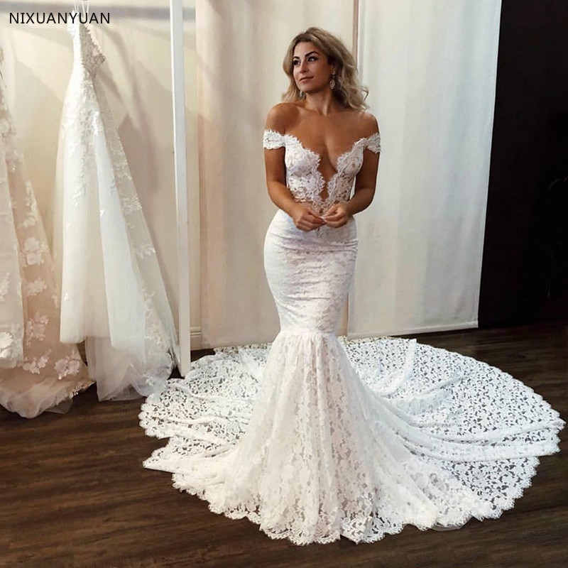 2020 Sexy Mermaid Wedding Dresses Full Lace Appliques Off The Shoulder Beach Wedding Dress Chapel Train Boho Plus Size