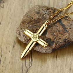 Bullet Cross Pendant Necklace for Men Stainless steel Men's Crosses collares in Gold Tone Lucky Amulet Male Jewelry with 24inch