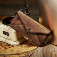 Thin Women Wallet Genuine Cow Leather Money Purse Bag For Female Long Cutch Coin Bags Phone Holder Wallets Vintage phone Bags