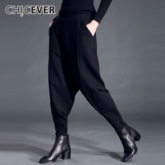 CHICEVER Autumn Winter Womens Pants Female Elastic High Waist Loose Oversize Black Pants Casual Fashion Clothes New
