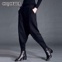 CHICEVER סתיו חורף נשים של מכנסיים נקבה אלסטיות גבוהה מותן Loose Oversize שחור מכנסיים מזדמנים אופנה בגדים חדש