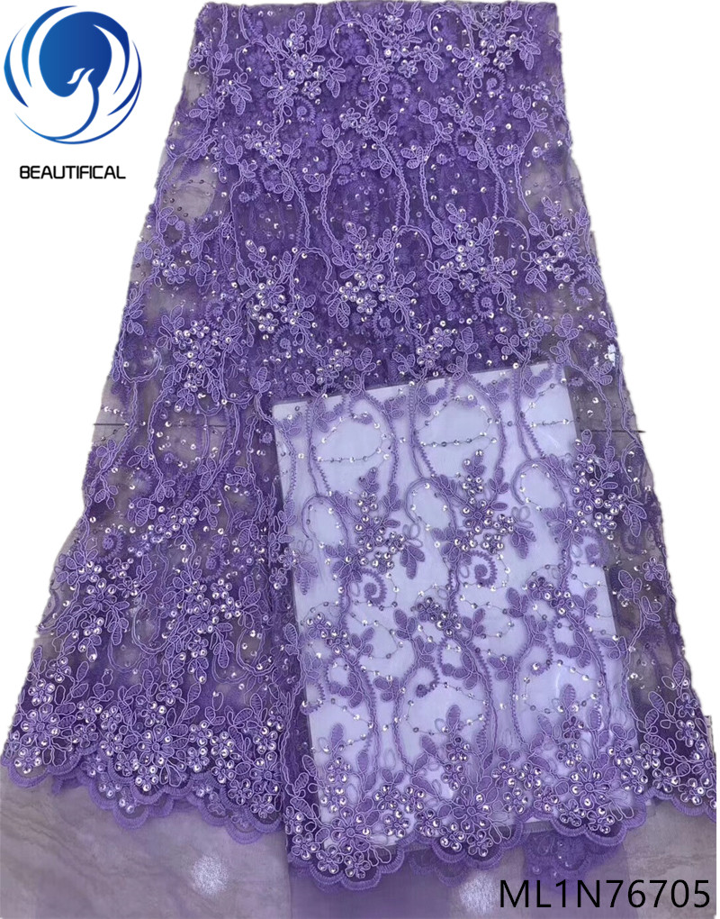 BEAUTIFICAL african lace fabric embroidery purple lace french tulle fabric 5 yards latest design party nigerian